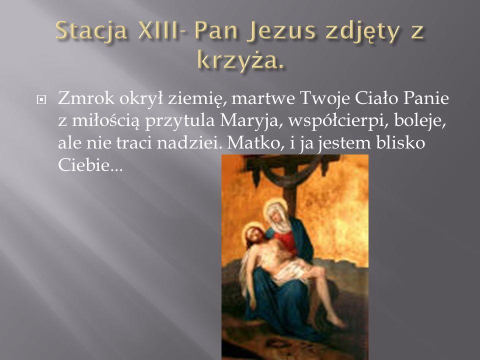 Zmrok okrył ziemię, martwe Twoje Ciało Panie z miłością przytula Maryja, współcierpi, boleje, ale nie traci nadziei. Matko, i ja jestem blisko Ciebie.