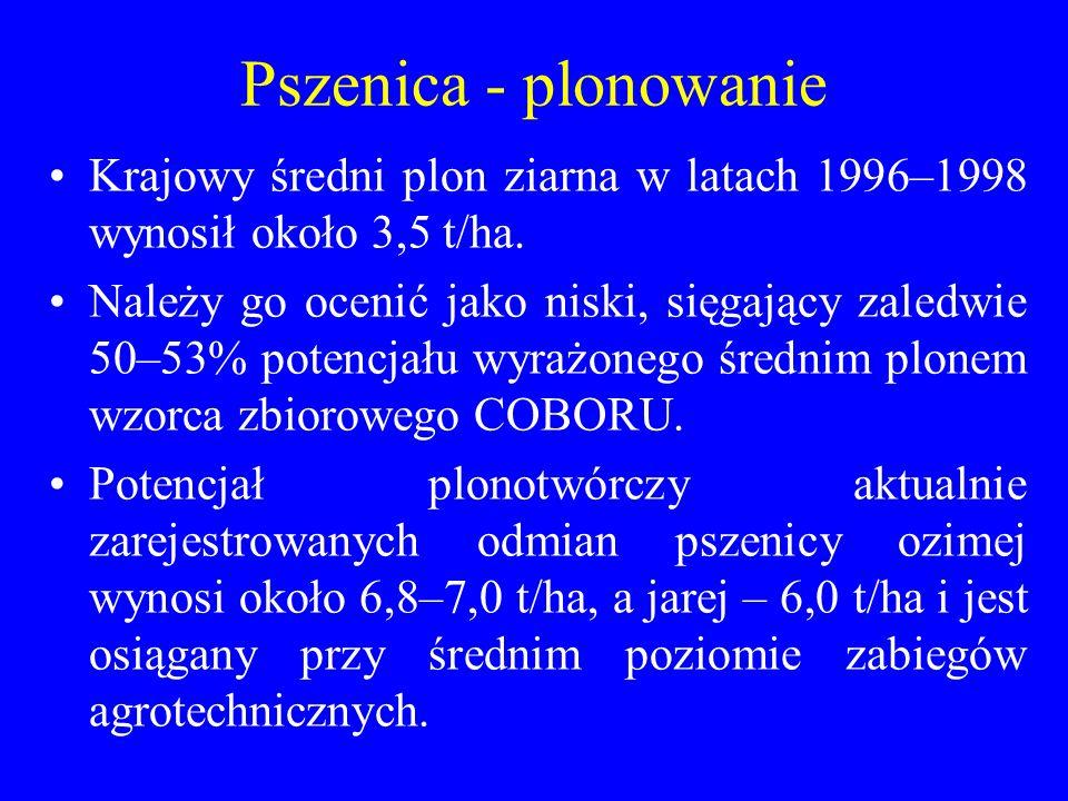 Pszenica - plonowanie Krajowy średni plon ziarna w latach 1996–1998 wynosił około 3,5 t/ha.
