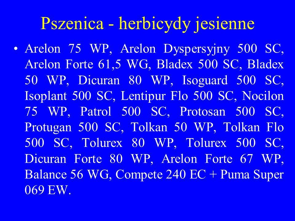 Pszenica - herbicydy jesienne Arelon 75 WP, Arelon Dyspersyjny 500 SC, Arelon Forte 61,5 WG, Bladex 500 SC, Bladex 50 WP, Dicuran 80 WP, Isoguard 500 SC, Isoplant 500 SC, Lentipur Flo 500 SC, Nocilon 75 WP, Patrol 500 SC, Protosan 500 SC, Protugan 500 SC, Tolkan 50 WP, Tolkan Flo 500 SC, Tolurex 80 WP, Tolurex 500 SC, Dicuran Forte 80 WP, Arelon Forte 67 WP, Balance 56 WG, Compete 240 EC + Puma Super 069 EW.