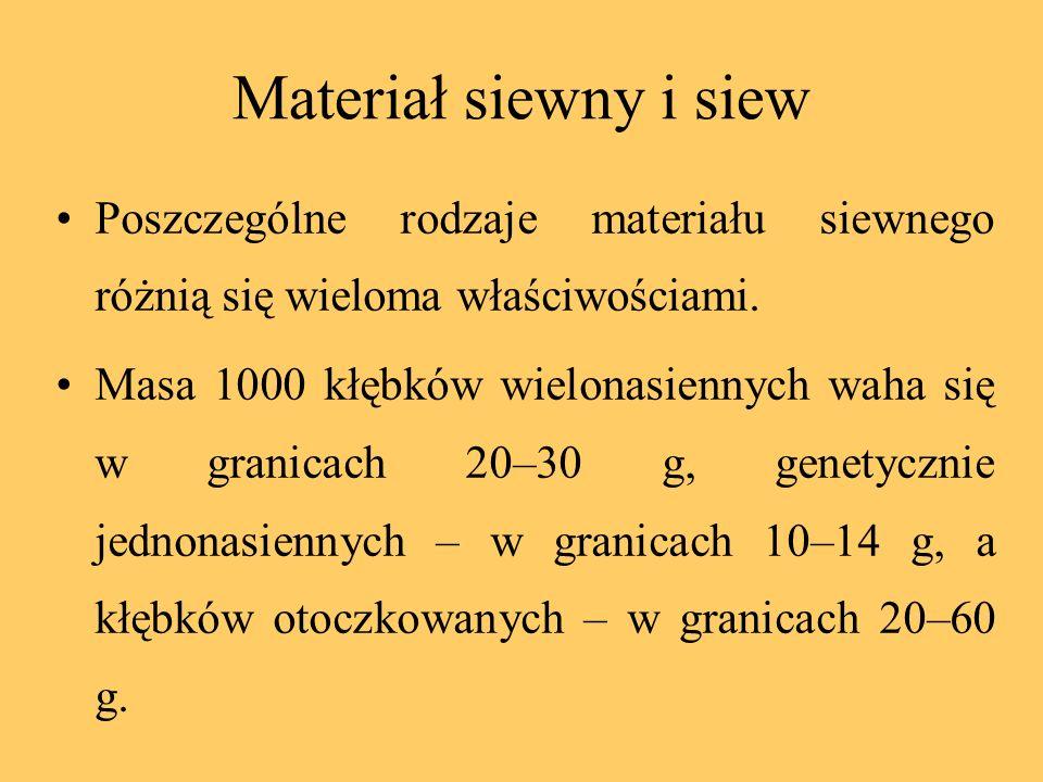 Materiał siewny i siew Poszczególne rodzaje materiału siewnego różnią się wieloma właściwościami. Masa 1000 kłębków wielonasiennych waha się w granica