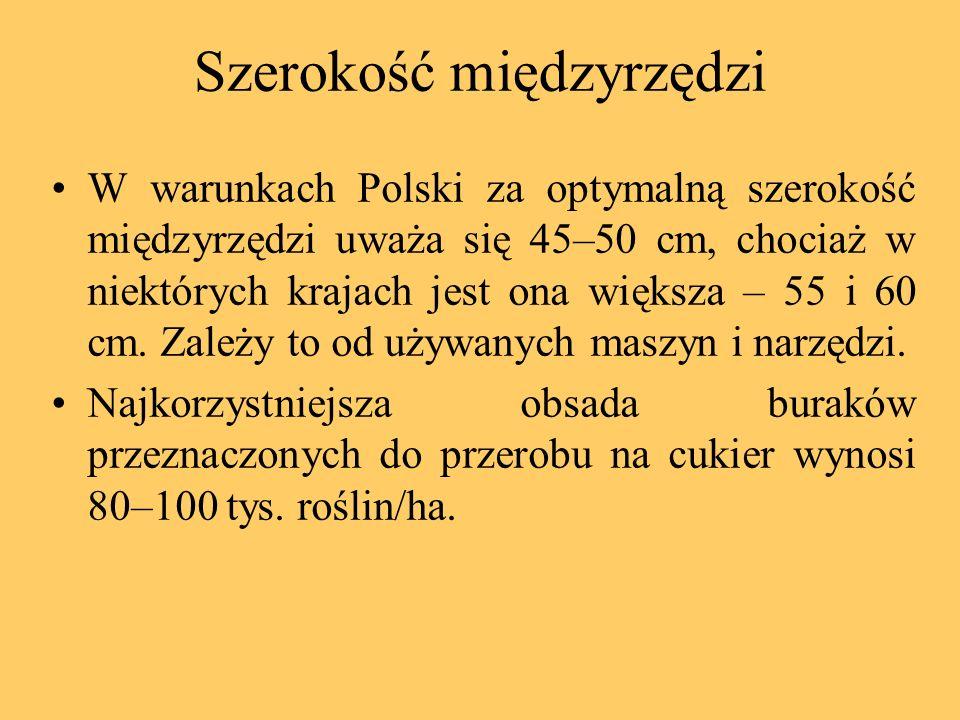 Szerokość międzyrzędzi W warunkach Polski za optymalną szerokość międzyrzędzi uważa się 45–50 cm, chociaż w niektórych krajach jest ona większa – 55 i
