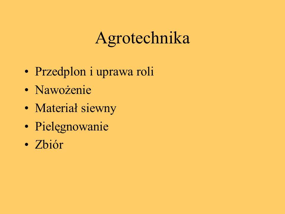 Agrotechnika Przedplon i uprawa roli Nawożenie Materiał siewny Pielęgnowanie Zbiór