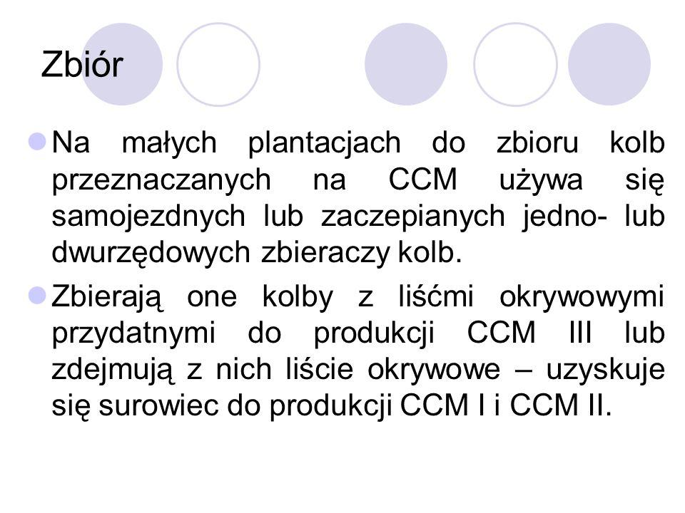 Zbiór Na małych plantacjach do zbioru kolb przeznaczanych na CCM używa się samojezdnych lub zaczepianych jedno- lub dwurzędowych zbieraczy kolb. Zbier