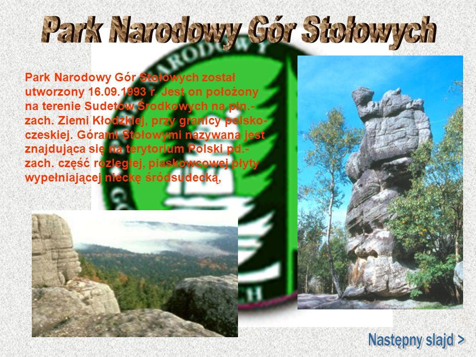Park Narodowy Gór Stołowych został utworzony 16.09.1993 r. Jest on położony na terenie Sudetów Środkowych na płn.- zach. Ziemi Kłodzkiej, przy granicy