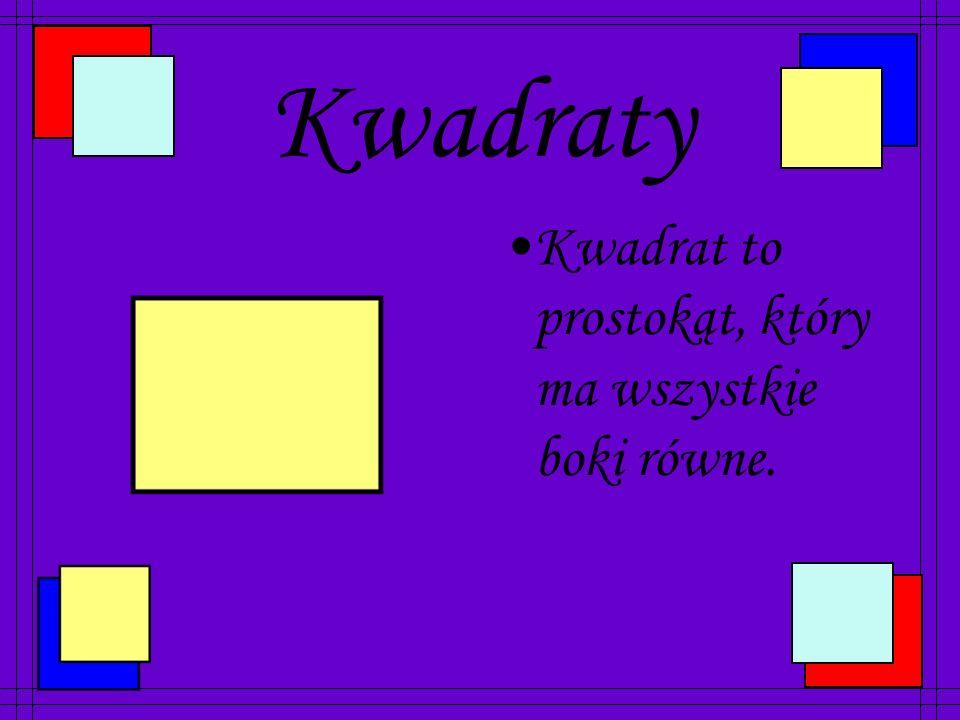 Prostokąty Prostokąt to czworokąt, który ma wszystkie kąty proste.