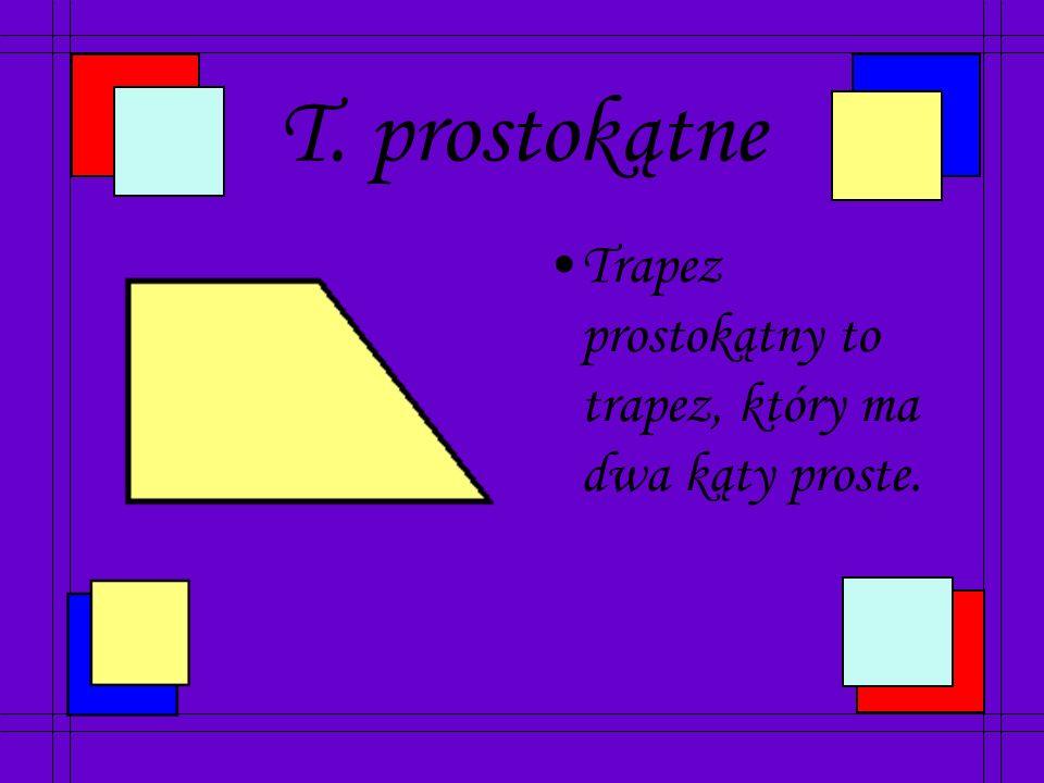 Trapezy Trapez to czworokąt, który ma przynajmniej jedną parę boków równoległych.