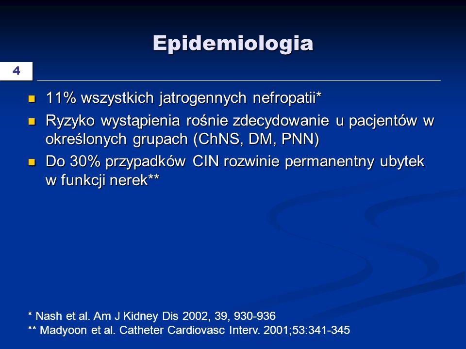 15 Potencjalne strategie p/działania Niedziałające: Niedziałające: Mannitol, furosemid, dopamina, ANF, fenoldopam, hemodializa Mannitol, furosemid, dopamina, ANF, fenoldopam, hemodializa Nieudowodnione: Nieudowodnione: Blokery kanałów wapniowych, teofilina, izoosmolarne CM, N-acetylocysteina, hemofiltracja, diwęglan sodu, kwas askorbinowy, prostaglandyny Blokery kanałów wapniowych, teofilina, izoosmolarne CM, N-acetylocysteina, hemofiltracja, diwęglan sodu, kwas askorbinowy, prostaglandyny Obecnie rekomendowane Obecnie rekomendowane Niejonowe CM, odstawić NLPZ, zachować odpowiedni czas pomiędzy badaniami, zmniejszyć dawkę CM, nawodnienie, używać nisko- lub izo- osmolarnych CM Niejonowe CM, odstawić NLPZ, zachować odpowiedni czas pomiędzy badaniami, zmniejszyć dawkę CM, nawodnienie, używać nisko- lub izo- osmolarnych CM