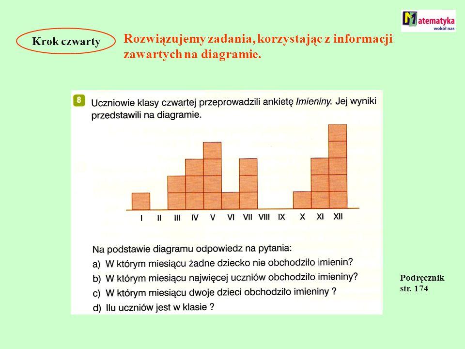 Krok czwarty Rozwiązujemy zadania, korzystając z informacji zawartych na diagramie. Podręcznik str. 174