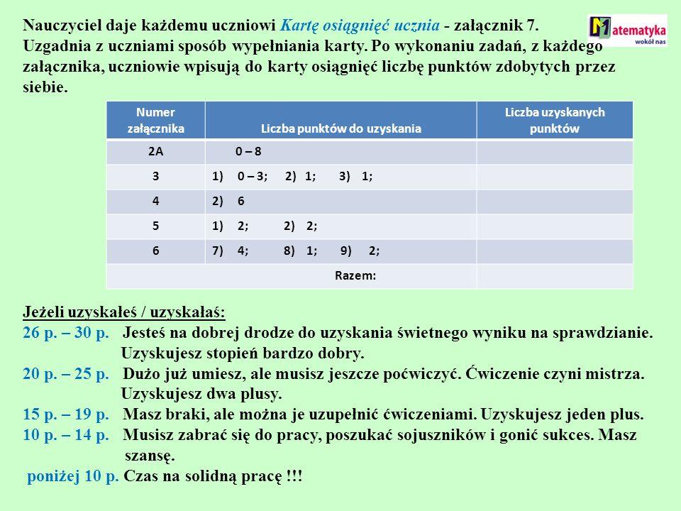 Nauczyciel daje każdemu uczniowi Kartę osiągnięć ucznia - załącznik 7. Uzgadnia z uczniami sposób wypełniania karty. Po wykonaniu zadań, z każdego zał