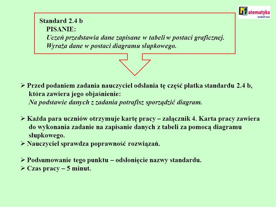 Standard 2.4 b PISANIE: Uczeń przedstawia dane zapisane w tabeli w postaci graficznej. Wyraża dane w postaci diagramu słupkowego. Przed podaniem zadan