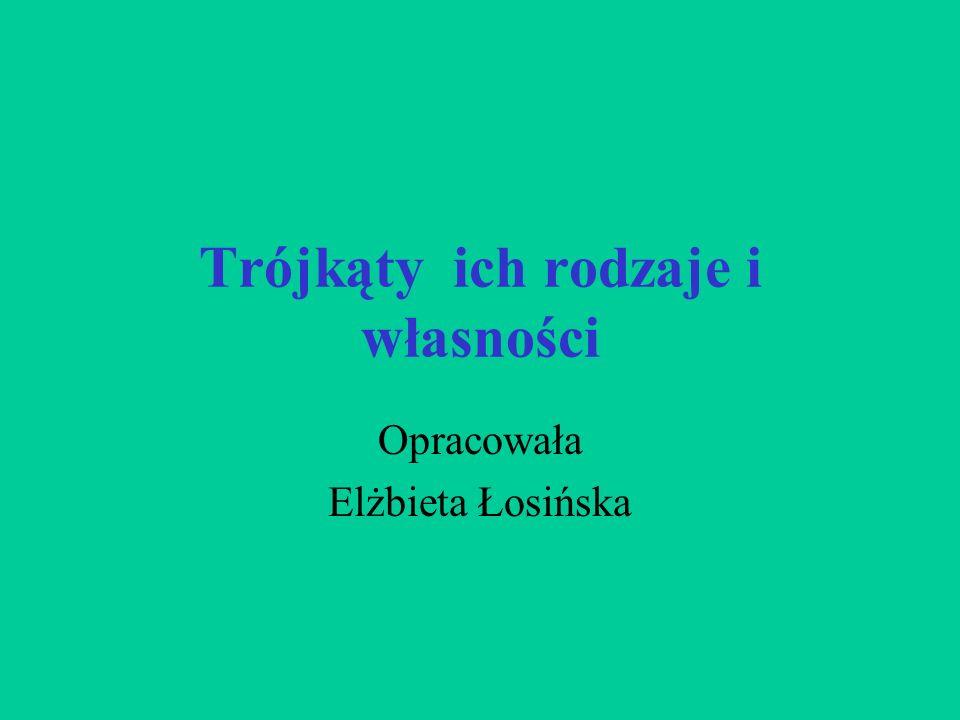 Trójkąty ich rodzaje i własności Opracowała Elżbieta Łosińska