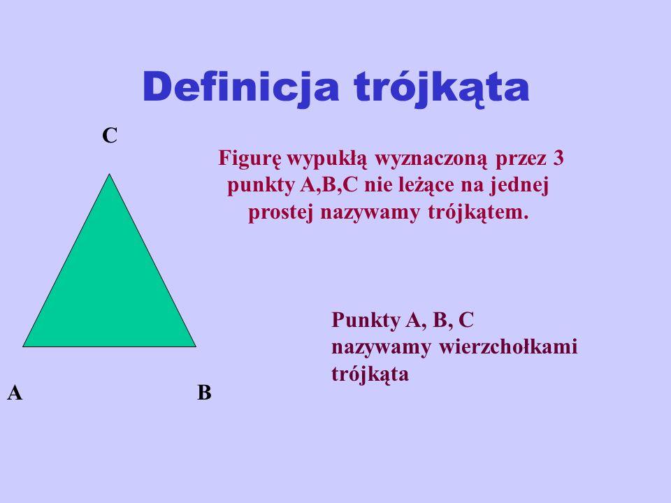Definicja trójkąta AB C Figurę wypukłą wyznaczoną przez 3 punkty A,B,C nie leżące na jednej prostej nazywamy trójkątem.