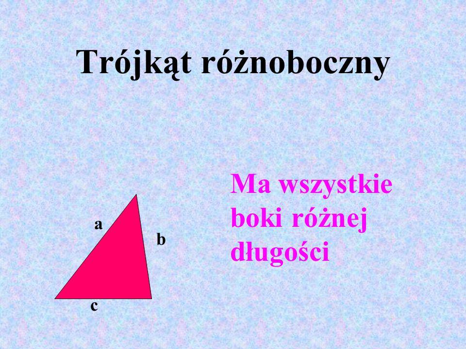 a b c Ma wszystkie boki różnej długości Trójkąt różnoboczny