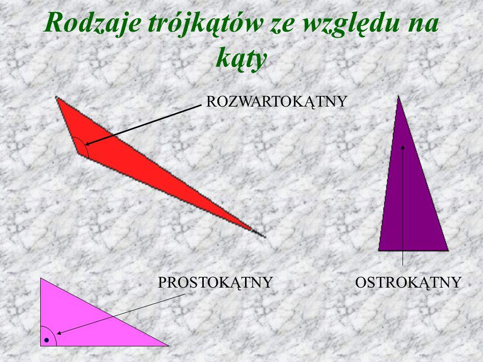 ROZWARTOKĄTNY PROSTOKĄTNYOSTROKĄTNY Rodzaje trójkątów ze względu na kąty