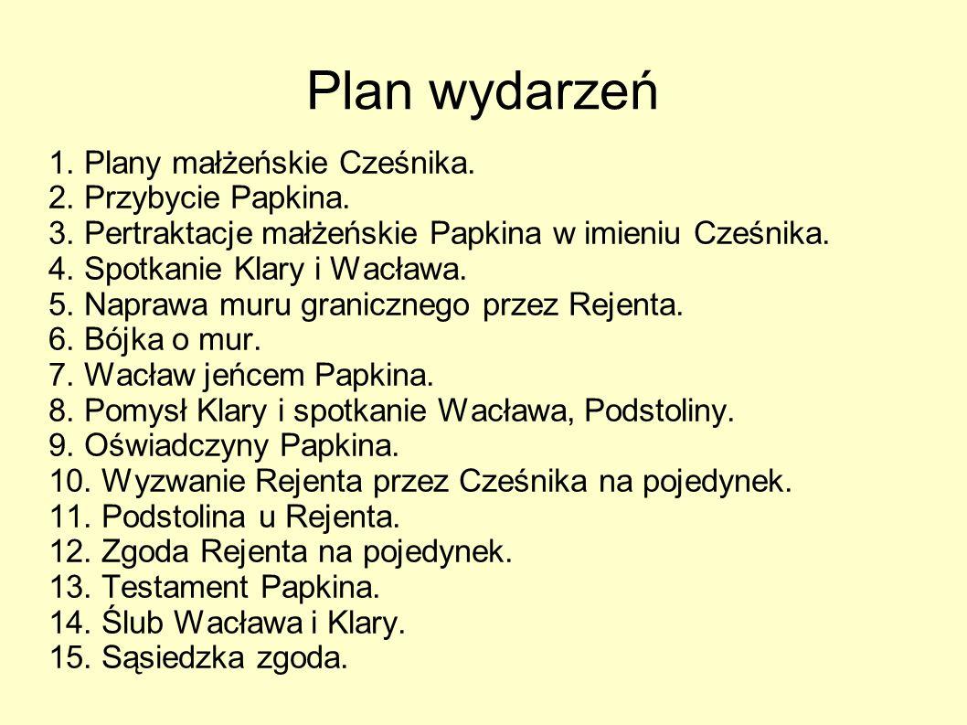 Plan wydarzeń 1.Plany małżeńskie Cześnika. 2. Przybycie Papkina.