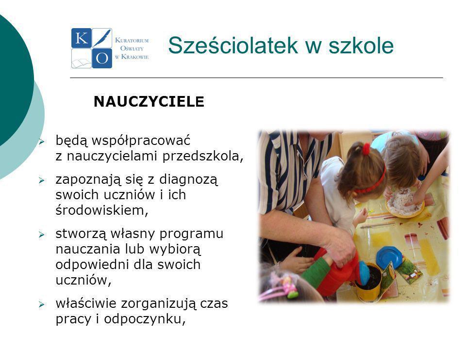 Sześciolatek w szkole NAUCZYCIEL E będą współpracować z nauczycielami przedszkola, zapoznają się z diagnozą swoich uczniów i ich środowiskiem, stworzą własny programu nauczania lub wybiorą odpowiedni dla swoich uczniów, właściwie zorganizują czas pracy i odpoczynku,