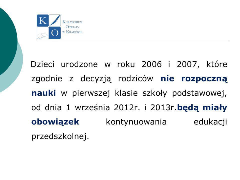 Dzieci urodzone w roku 2006 i 2007, które zgodnie z decyzją rodziców nie rozpoczną nauki w pierwszej klasie szkoły podstawowej, od dnia 1 września 2012r.