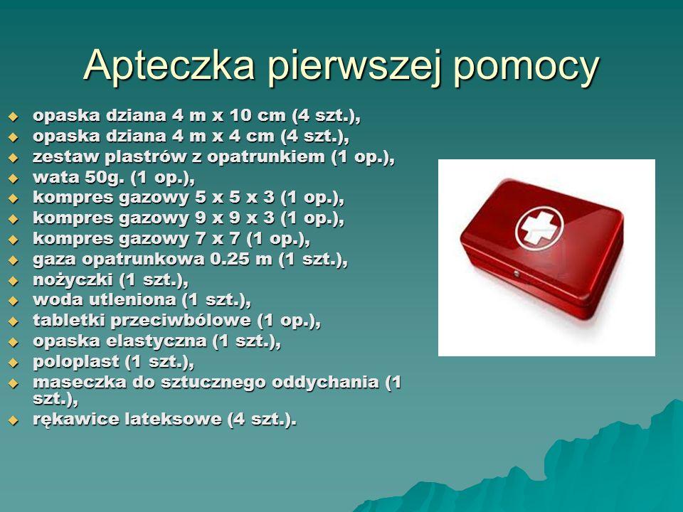 Apteczka pierwszej pomocy opaska dziana 4 m x 10 cm (4 szt.), opaska dziana 4 m x 10 cm (4 szt.), opaska dziana 4 m x 4 cm (4 szt.), opaska dziana 4 m