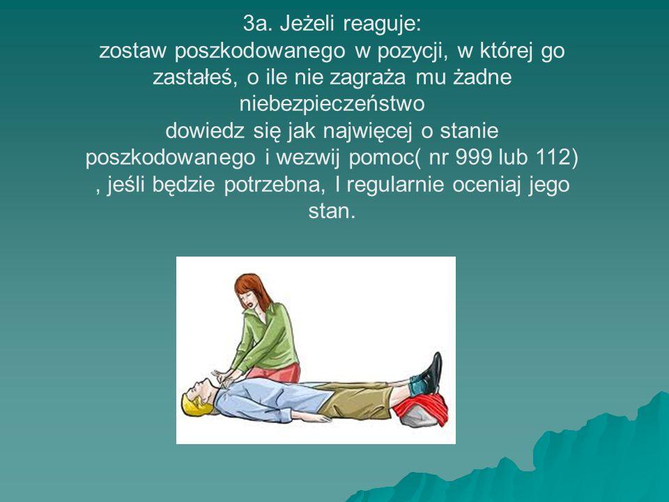 3a. Jeżeli reaguje: zostaw poszkodowanego w pozycji, w której go zastałeś, o ile nie zagraża mu żadne niebezpieczeństwo dowiedz się jak najwięcej o st