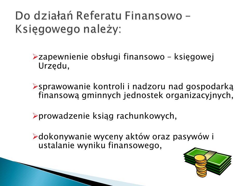 zapewnienie obsługi finansowo – księgowej Urzędu, sprawowanie kontroli i nadzoru nad gospodarką finansową gminnych jednostek organizacyjnych, prowadze