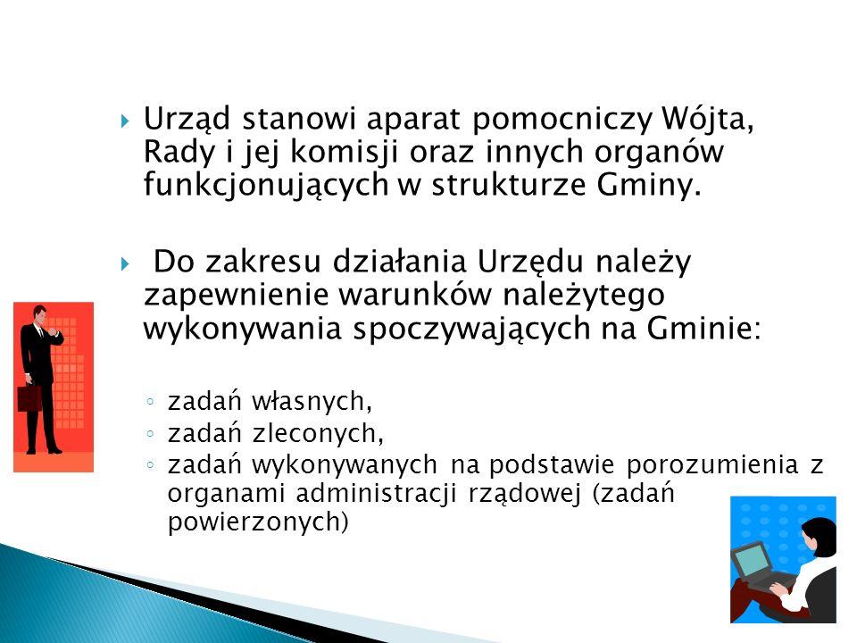 Urząd stanowi aparat pomocniczy Wójta, Rady i jej komisji oraz innych organów funkcjonujących w strukturze Gminy. Do zakresu działania Urzędu należy z