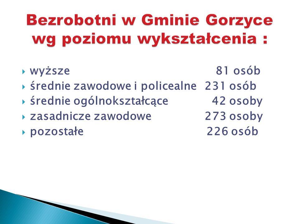wyższe 81 osób średnie zawodowe i policealne 231 osób średnie ogólnokształcące 42 osoby zasadnicze zawodowe 273 osoby pozostałe 226 osób