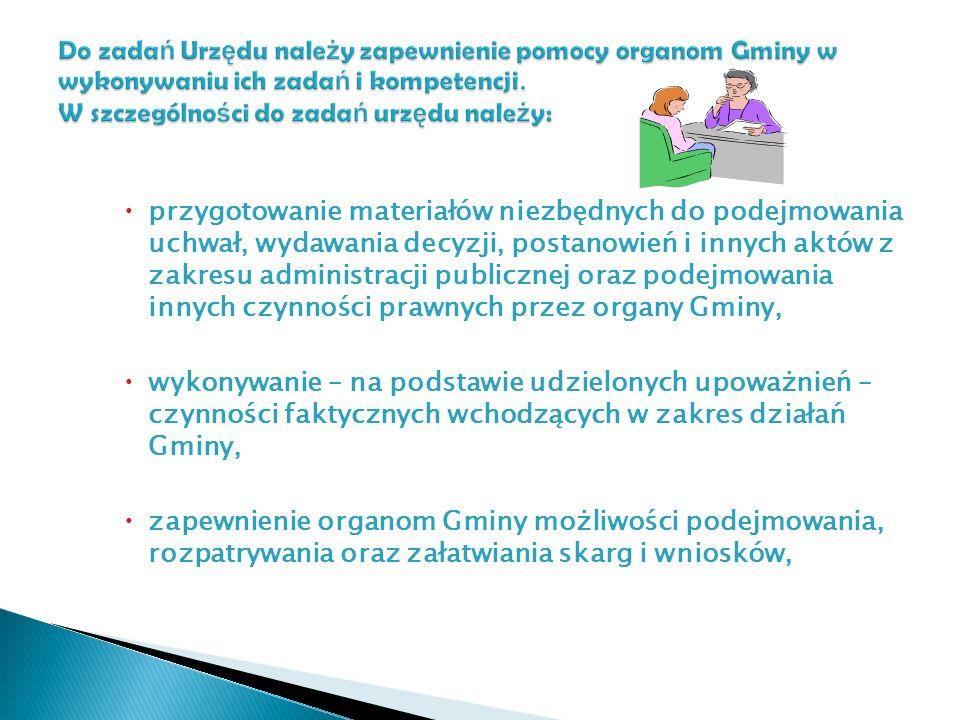 przygotowanie materiałów niezbędnych do podejmowania uchwał, wydawania decyzji, postanowień i innych aktów z zakresu administracji publicznej oraz pod