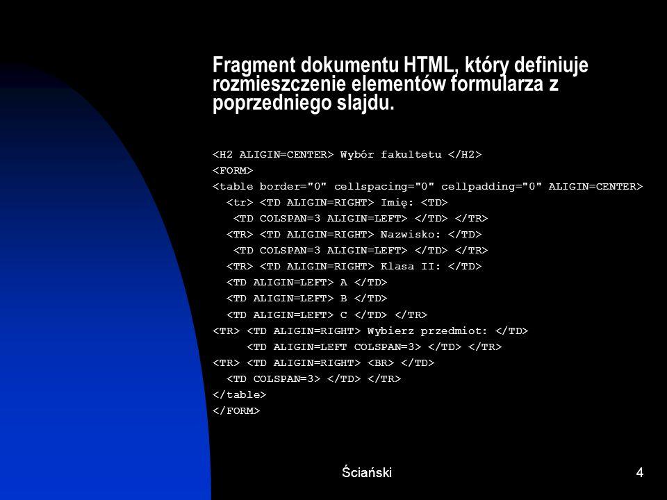 Ściański5 Definiowanie postaci formularza Każdy element formularza widocznego na ekranie, ma przypisaną w jednym z poleceń (IMPUT, SELECT OPTION), nazwę (parametr NAME) i wartość (parametr VALUE).