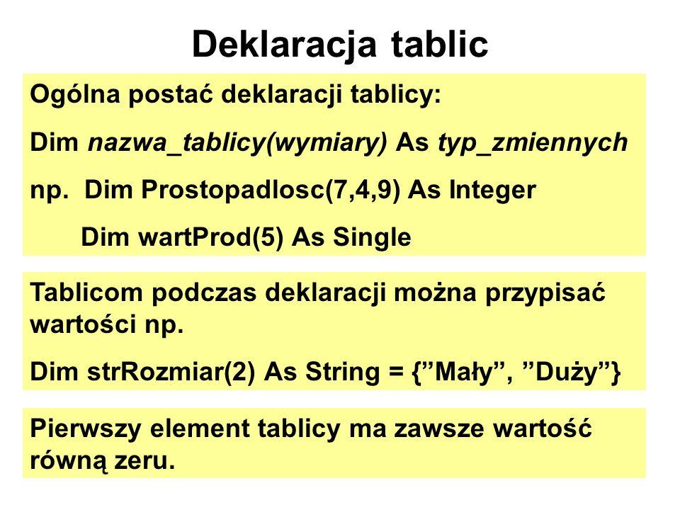 Deklaracja tablic Ogólna postać deklaracji tablicy: Dim nazwa_tablicy(wymiary) As typ_zmiennych np. Dim Prostopadlosc(7,4,9) As Integer Dim wartProd(5