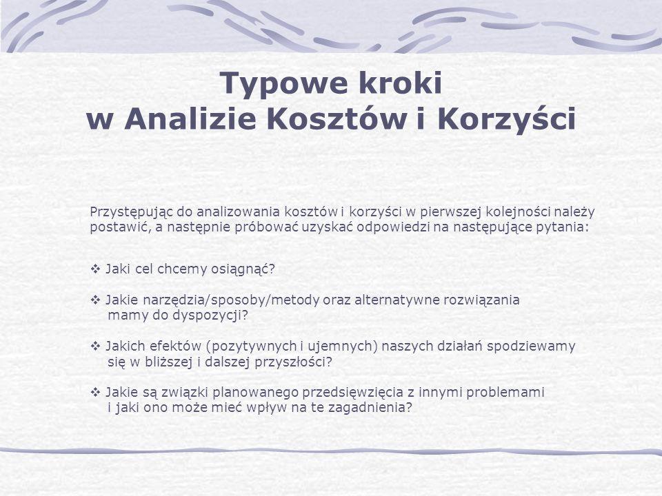 Przystępując do analizowania kosztów i korzyści w pierwszej kolejności należy postawić, a następnie próbować uzyskać odpowiedzi na następujące pytania: Jaki cel chcemy osiągnąć.