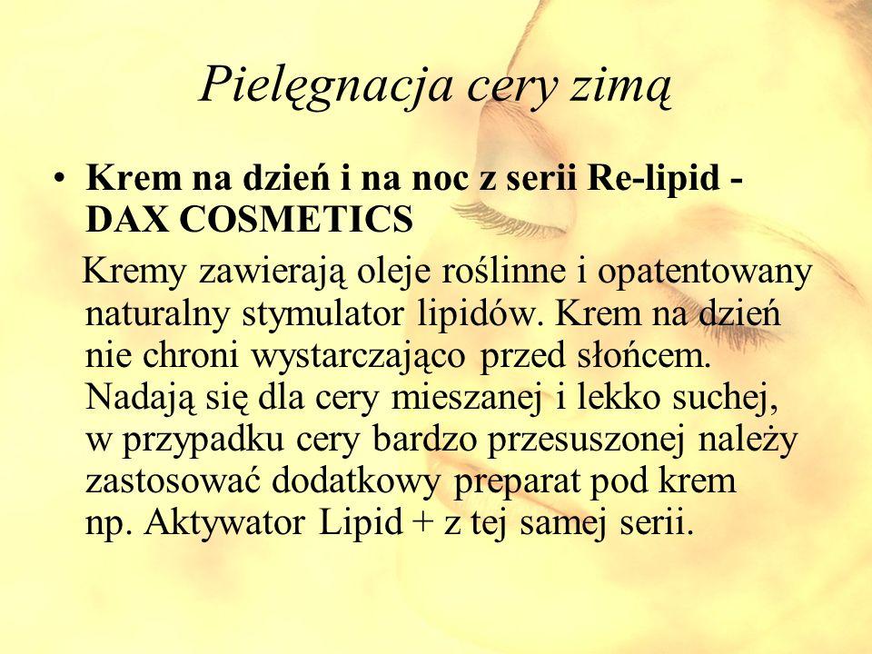 Pielęgnacja cery zimą Krem na dzień i na noc z serii Re-lipid - DAX COSMETICS Kremy zawierają oleje roślinne i opatentowany naturalny stymulator lipid