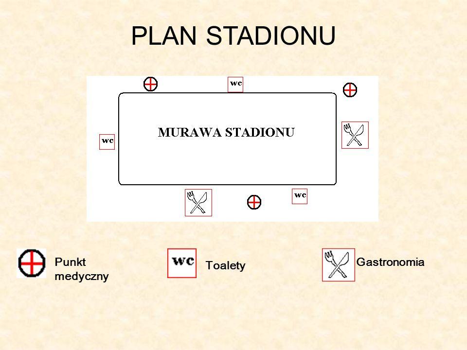 PLAN STADIONU Punkt medyczny Toalety Gastronomia