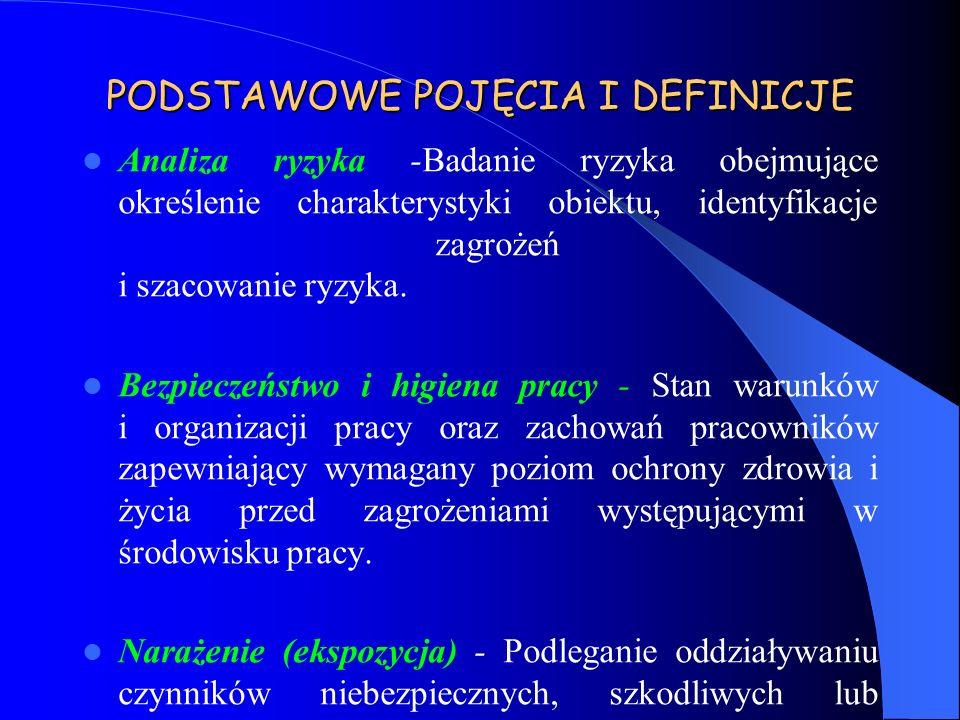 PODSTAWOWE POJĘCIA I DEFINICJE Analiza ryzyka -Badanie ryzyka obejmujące określenie charakterystyki obiektu, identyfikacje zagrożeń i szacowanie ryzyk