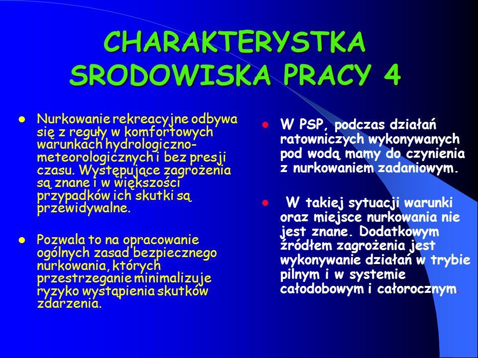 CHARAKTERYSTKA SRODOWISKA PRACY 4 Nurkowanie rekreacyjne odbywa się z reguły w komfortowych warunkach hydrologiczno- meteorologicznych i bez presji cz