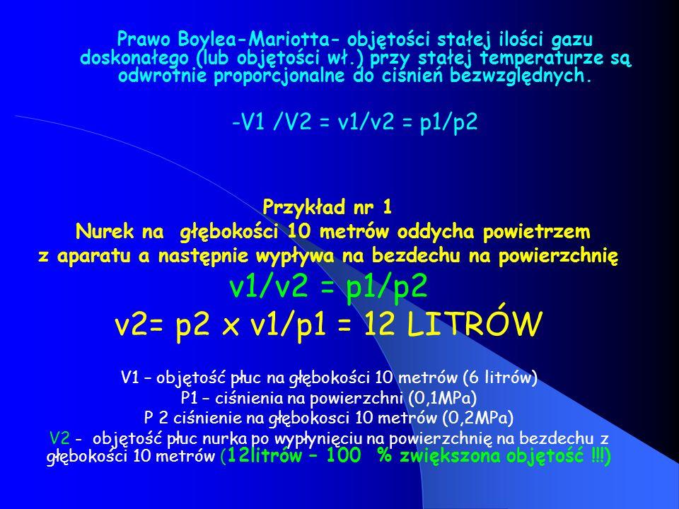 Prawo Boylea-Mariotta- objętości stałej ilości gazu doskonałego (lub objętości wł.) przy stałej temperaturze są odwrotnie proporcjonalne do ciśnień be