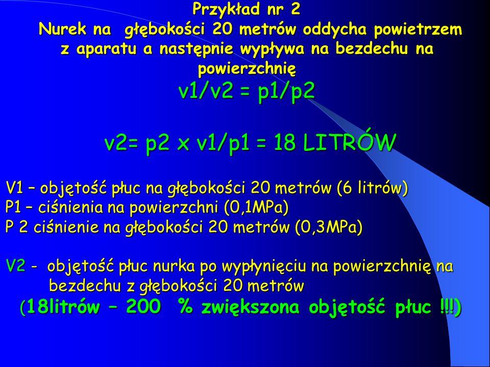 Przykład nr 2 Nurek na głębokości 20 metrów oddycha powietrzem z aparatu a następnie wypływa na bezdechu na powierzchnię v1/v2 = p1/p2 v2= p2 x v1/p1