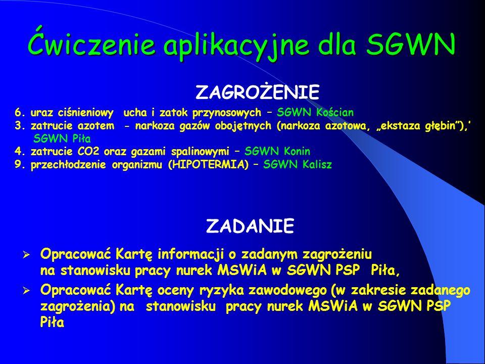 Ćwiczenie aplikacyjne dla SGWN 6. uraz ciśnieniowy ucha i zatok przynosowych – SGWN Kościan 3. zatrucie azotem - narkoza gazów obojętnych (narkoza azo