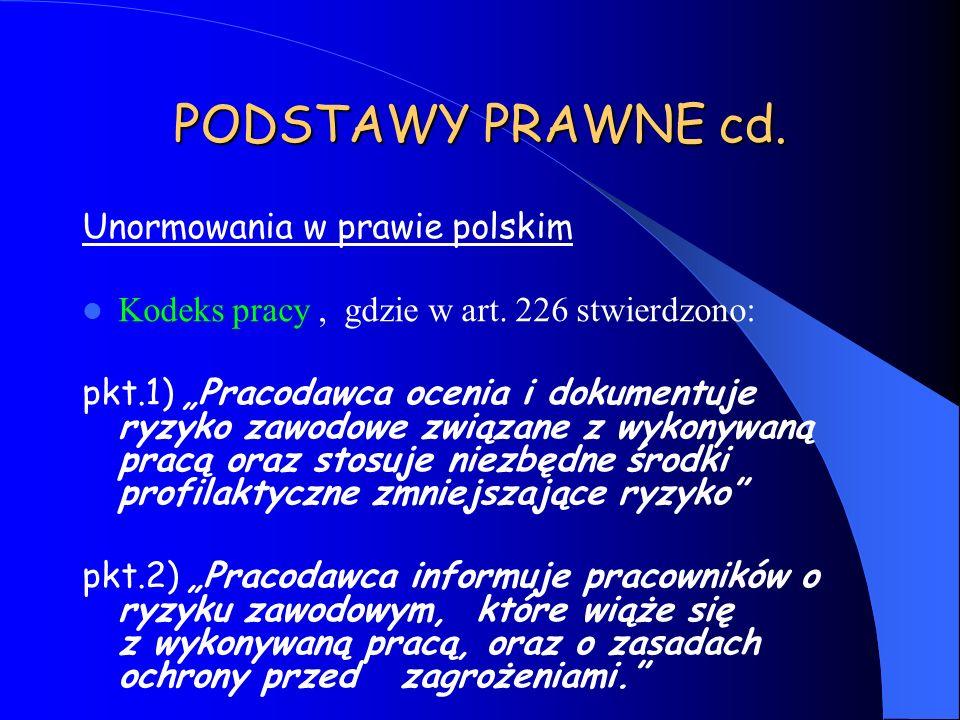PODSTAWY PRAWNE cd. Unormowania w prawie polskim Kodeks pracy, gdzie w art. 226 stwierdzono: pkt.1) Pracodawca ocenia i dokumentuje ryzyko zawodowe zw