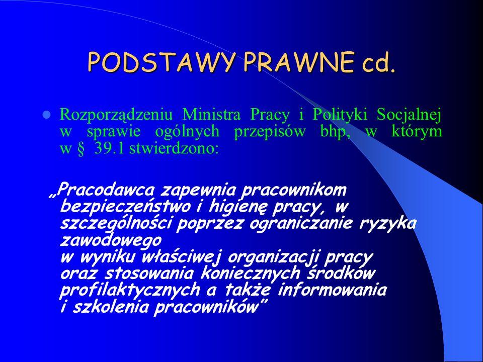 PODSTAWY PRAWNE cd. Rozporządzeniu Ministra Pracy i Polityki Socjalnej w sprawie ogólnych przepisów bhp, w którym w § 39.1 stwierdzono: Pracodawca zap