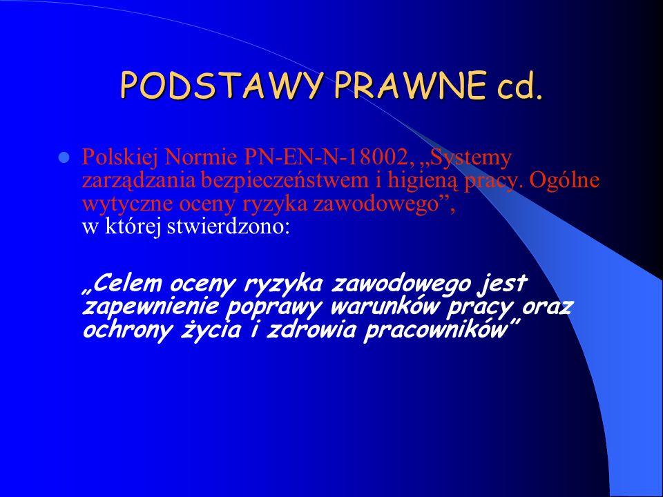 PODSTAWY PRAWNE cd. Polskiej Normie PN-EN-N-18002, Systemy zarządzania bezpieczeństwem i higieną pracy. Ogólne wytyczne oceny ryzyka zawodowego, w któ
