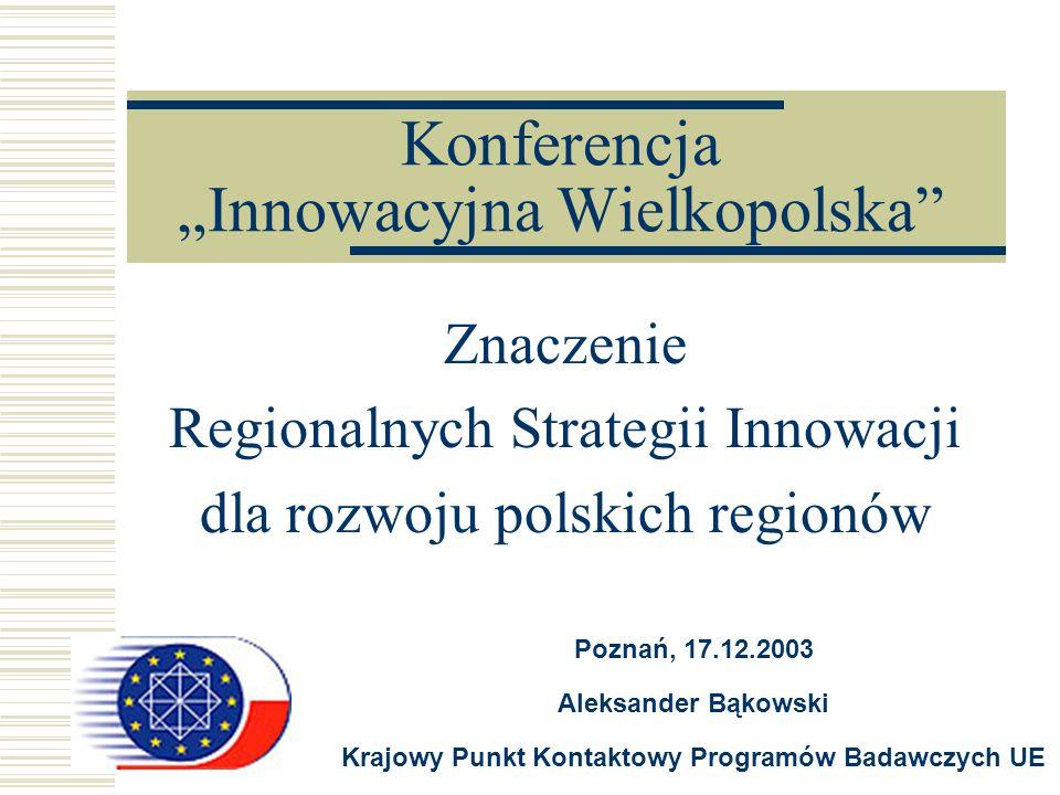 Konferencja Innowacyjna Wielkopolska Znaczenie Regionalnych Strategii Innowacji dla rozwoju polskich regionów Poznań, 17.12.2003 Aleksander Bąkowski K