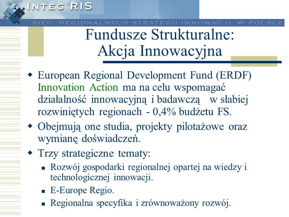 Fundusze Strukturalne: Akcja Innowacyjna European Regional Development Fund (ERDF) Innovation Action ma na celu wspomagać działalność innowacyjną i ba