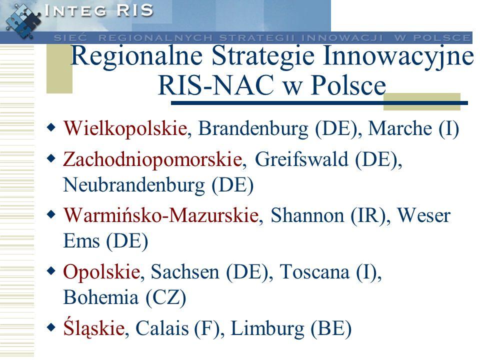 Regionalne Strategie Innowacyjne RIS-NAC w Polsce Wielkopolskie, Brandenburg (DE), Marche (I) Zachodniopomorskie, Greifswald (DE), Neubrandenburg (DE)