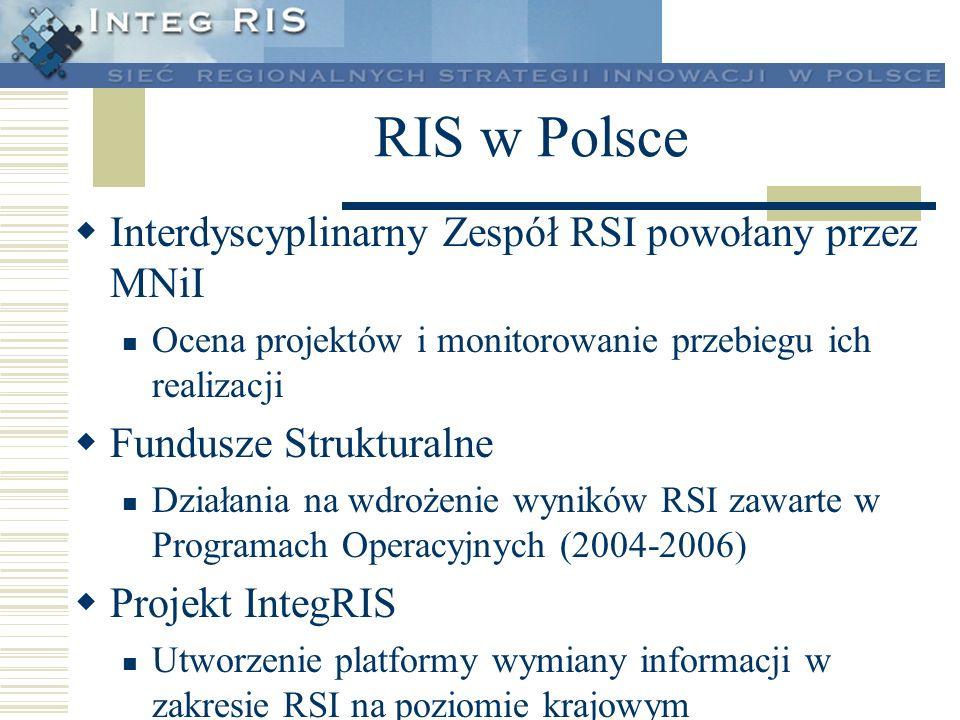 RIS w Polsce Interdyscyplinarny Zespół RSI powołany przez MNiI Ocena projektów i monitorowanie przebiegu ich realizacji Fundusze Strukturalne Działani