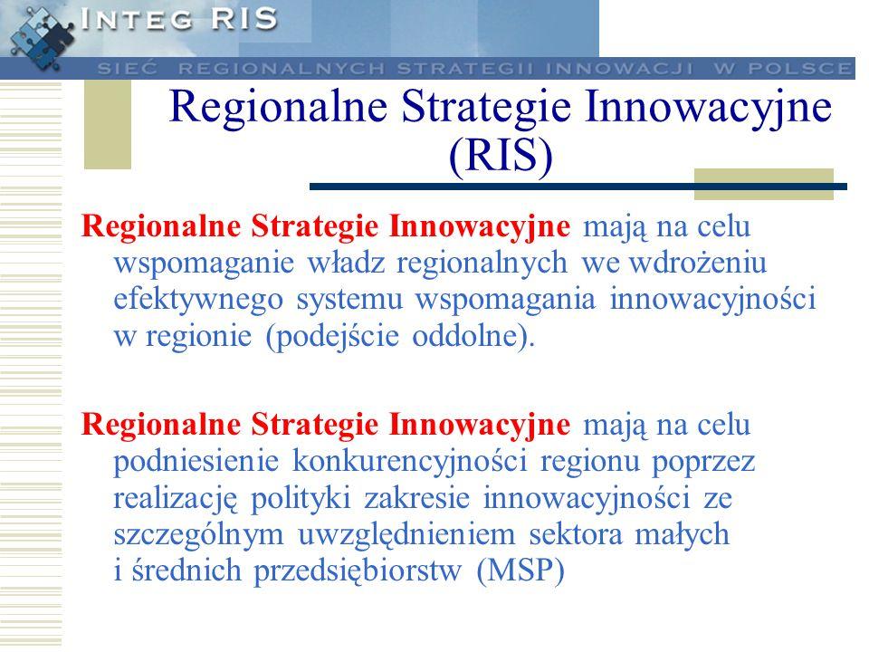 Regionalne Strategie Innowacyjne mają na celu wspomaganie władz regionalnych we wdrożeniu efektywnego systemu wspomagania innowacyjności w regionie (p