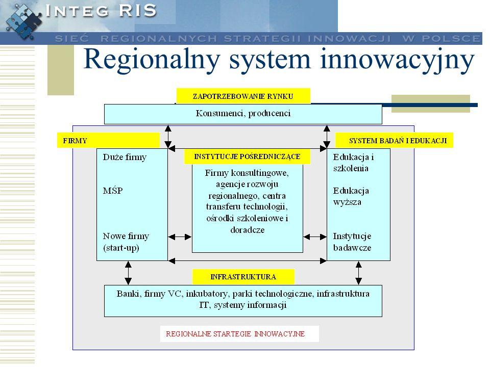 Obszary zainteresowania RIS Grupy firm, do których powinny być adresowane działania w zidentyfikowanych sektorach o dużym potencjale wzrostu Rola wiodących dostawców technologicznego know-how w przyszłym regionalnym systemie innowacji Infrastruktury, które powinny być preferowane aby wzmocnić pozytywne tendencje rozwojowe w zakresie innowacji Powiązania międzynarodowe (europejskie, globalne), które powinny być rozwijane w celu uzupełnienia zasobów regionalnych Zaangażowanie finansowe z różnych źródeł finansowania i określenie optymalnego poziomu finansowania publicznego w różnych strukturach