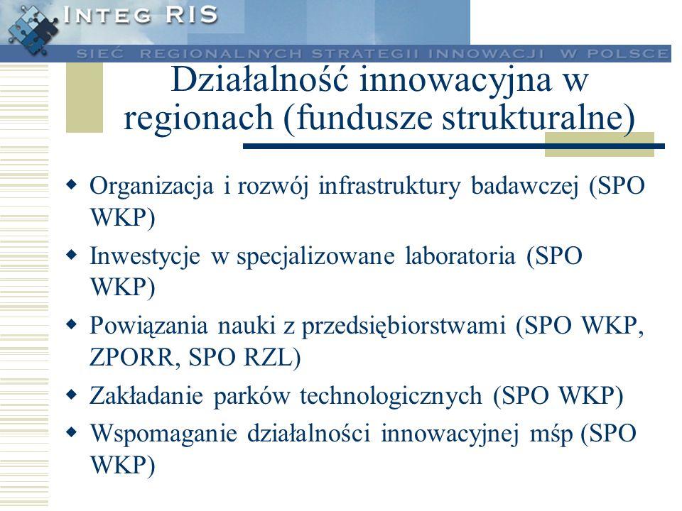 Działalność innowacyjna w regionach (fundusze strukturalne) Wspomaganie tworzenia nowych firm oraz inkubatory (SPO WKP) Fundusze inwestycyjne wysokiego ryzyka (SPO WKP) Wymiana personelu pomiędzy nauką a przemysłem (ZPORR) Szkolenia, podnoszenie kwalifikacji (SPO RZL) Tworzenie wizerunku regionu (ZPORR) Budowanie świadomości innowacyjnej (ZPORR)