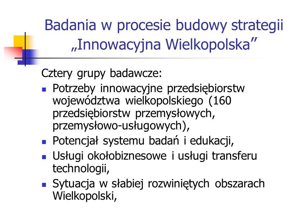 Badania w procesie budowy strategii Innowacyjna Wielkopolska Cztery grupy badawcze: Potrzeby innowacyjne przedsiębiorstw województwa wielkopolskiego (