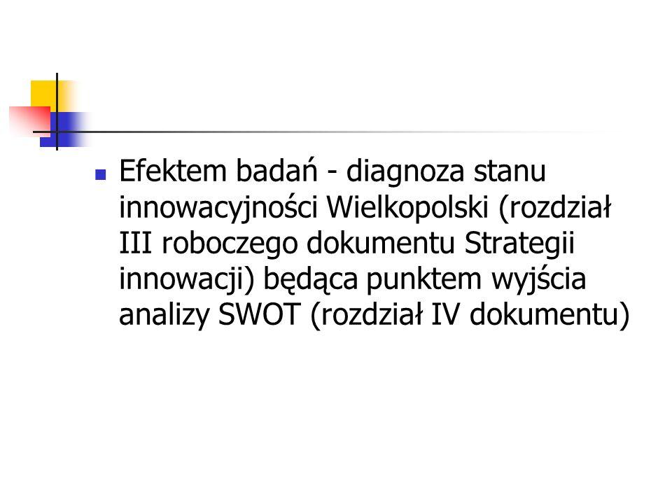 Efektem badań - diagnoza stanu innowacyjności Wielkopolski (rozdział III roboczego dokumentu Strategii innowacji) będąca punktem wyjścia analizy SWOT