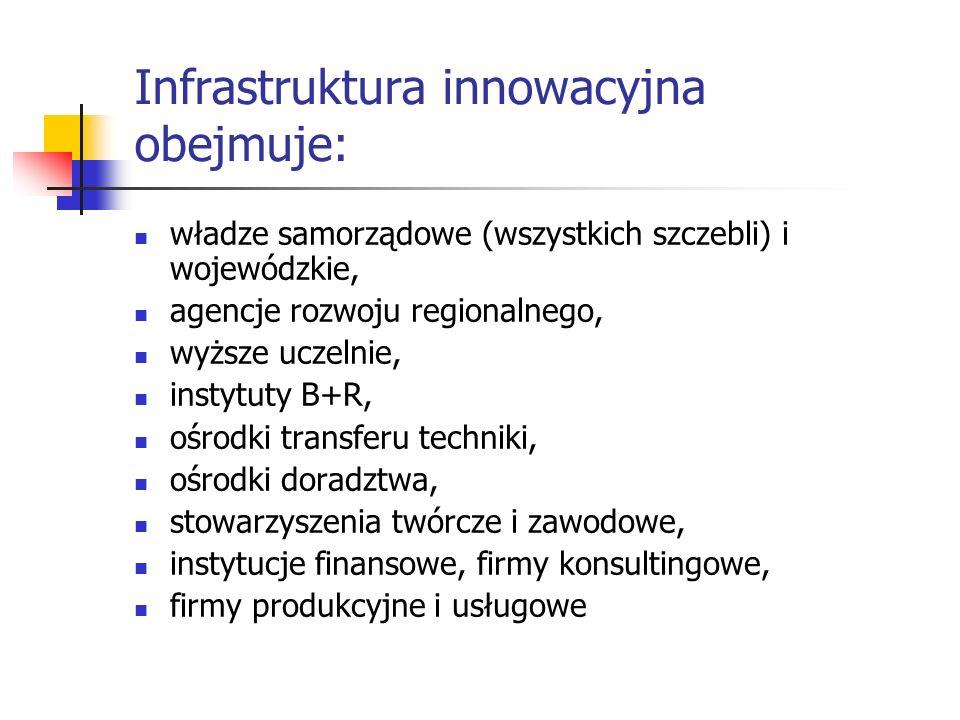 Infrastruktura innowacyjna obejmuje: władze samorządowe (wszystkich szczebli) i wojewódzkie, agencje rozwoju regionalnego, wyższe uczelnie, instytuty